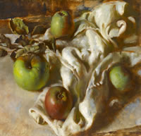 Artist Victor Hume Moody: Still Life with Apples on a White Cloth