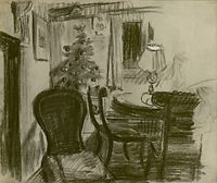 Artist Charles Mahoney: Sitting room with Christmas Tree at Oak Cottage, circa 1950