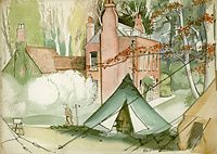 Artist Harold Yates: Army Billet, , near Newtown, Isle of Wight, HQ of Duke of Cornwalls Light Infantry, 20 february 43