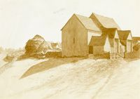 Artist Louise Larking: Farm and out buildings, circa 1920