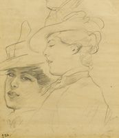 Artist Albert de Belleroche: Head of a woman wearing a decorated hat, profile and three quarter view, circa 1900