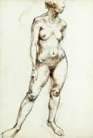 Artist Fyffe Christie: Standing nude, full length three quarter view, circa 1950