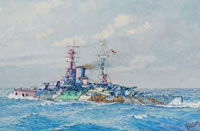 Artist W A Richards: HMS Ramillies as she appeared in September 1917, when serving with the First Division of the First Battle Squadron of the Grand Fleet, 1917