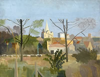 Artist Kenneth Rowntree: Village scene with pollarded trees