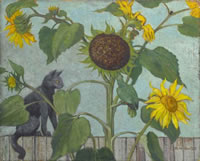 Artist Rudolph Sauter: Black Cat and Sunflowers with green parrot