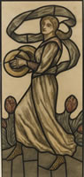 Artist Selwyn Image: Musician with Cymbals, design for a stained glass window, circa 1918