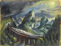 Artist Alan Sorrell: Train in a Landscape