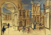 Artist Alan Sorrell: Tourists and running children at The Teatro Olimpico, Vicenza