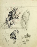 Artist Alan Sorrell: Sheet of figure studies, circa 1929