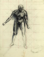 Artist Alan Sorrell: Study of a naked man, leaning forward