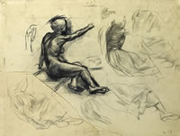 Artist Alan Sorrell: Study of a model (clothed and nude), dec 1929 (recto); Study after Raphael (verso)