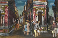 Artist Alan Sorrell: Tourists at The Teatro Olimpico, Vicenza 1955