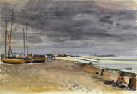 Artist Alan Sorrell: Southend beach with boats are low tide