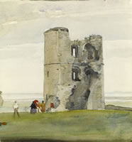 Artist Alan Sorrell: View of Hadleigh Castle, c. 1918-20