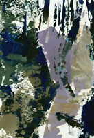 Artist John Cecil Stephenson: Abstract in mauve, dark and light brown and blue.