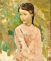 Artist Harry Watson: Study of a young girl in a pink dress, circa 1905