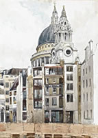 Artist Denys Wells: Bombed House in front of St. Pauls, c.1945