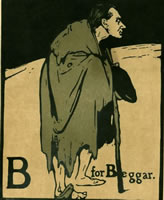 Artist William Nicholson: B for Beggar, circa 1898 (Portrait of James Pryde)