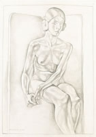 Artist James Wood: Life Study – Seated Nude, 1925
